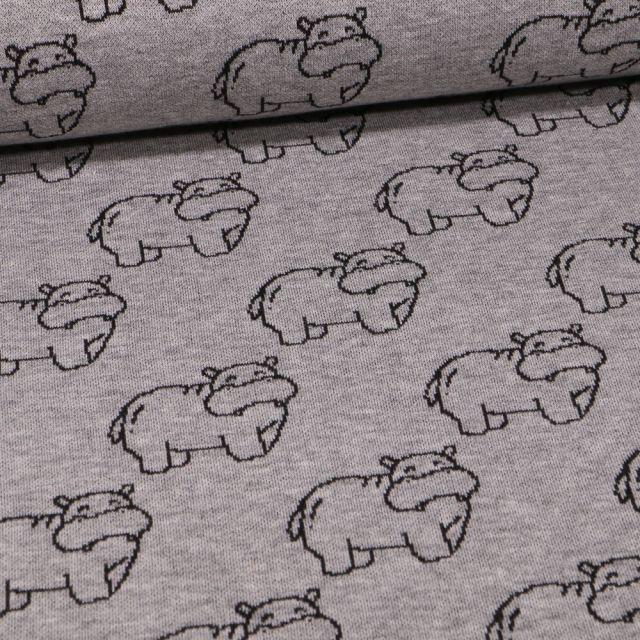 Tissu Sweat Maille Hippopotames sur fond Gris chiné - Par 10 cm