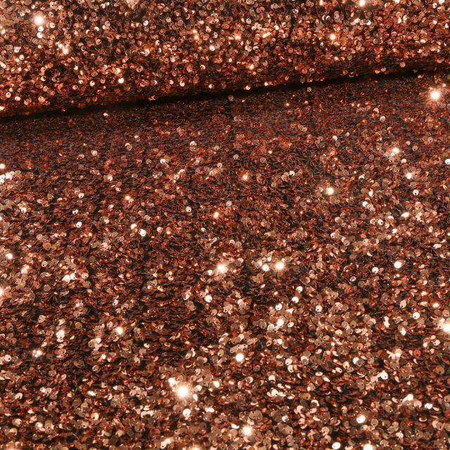 Tissu Sequins épais extensible Cuivre - Par 10 cm