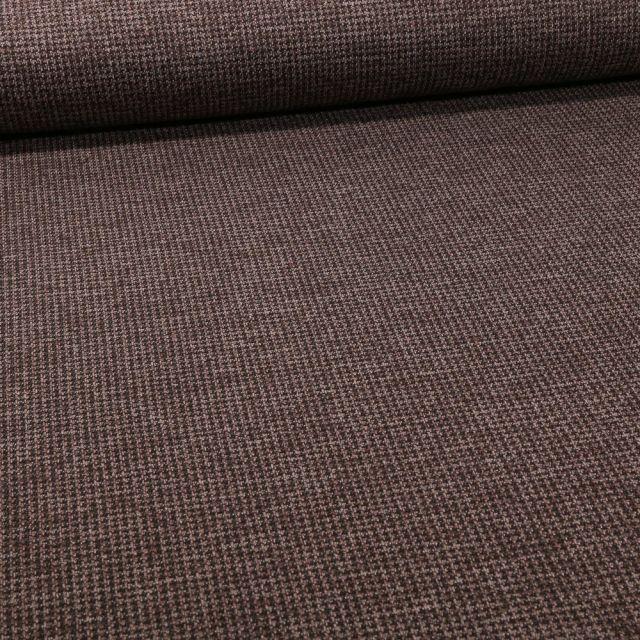 Tissu Maille Julia Pied de poule sur fond Taupe - Par 10 cm