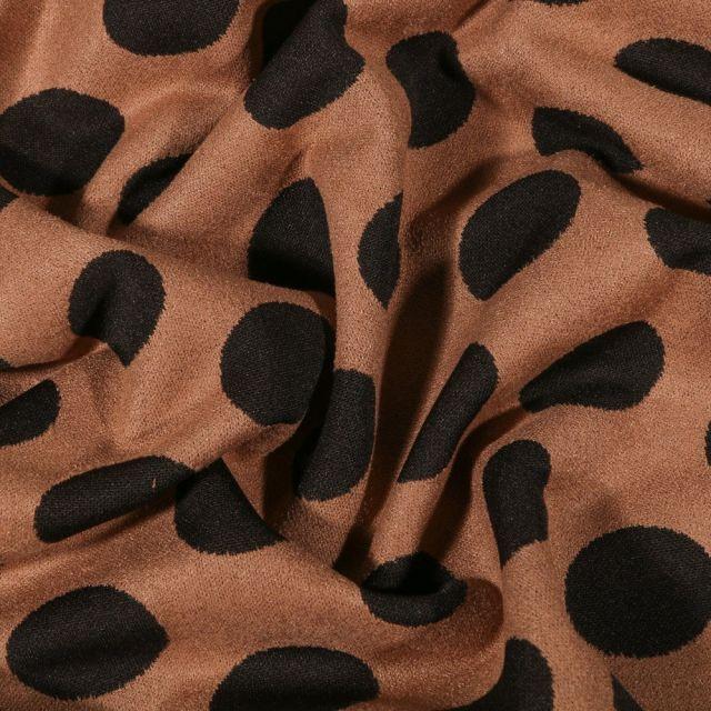 Tissu Suédine Jersey Pois noirs sur fond Camel - Par 10 cm