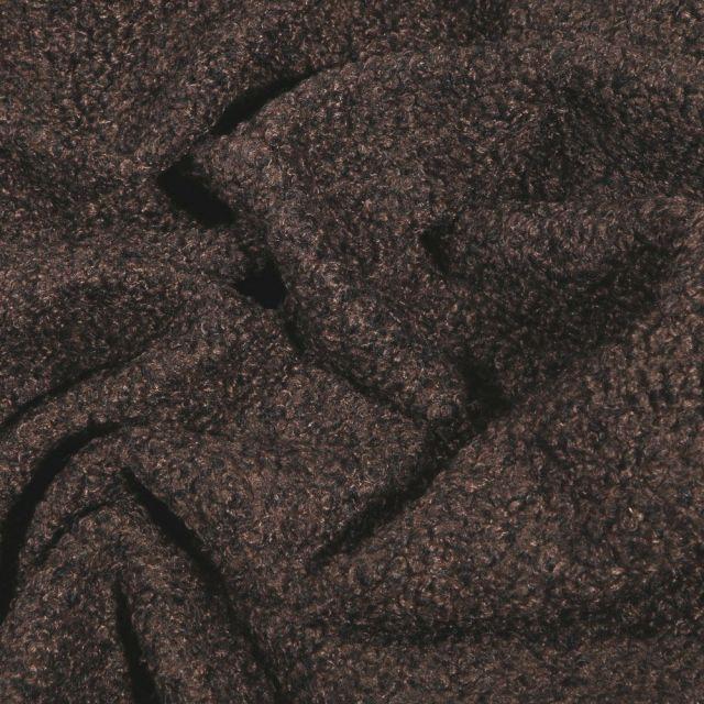 Tissu Lainage petites bouclettes Marron - Par 10 cm