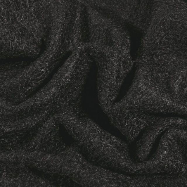 Tissu Lainage petites bouclettes Noir - Par 10 cm