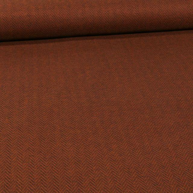 Tissu Jersey Milano touché laine Chevrons sur fond Brique - Par 10 cm