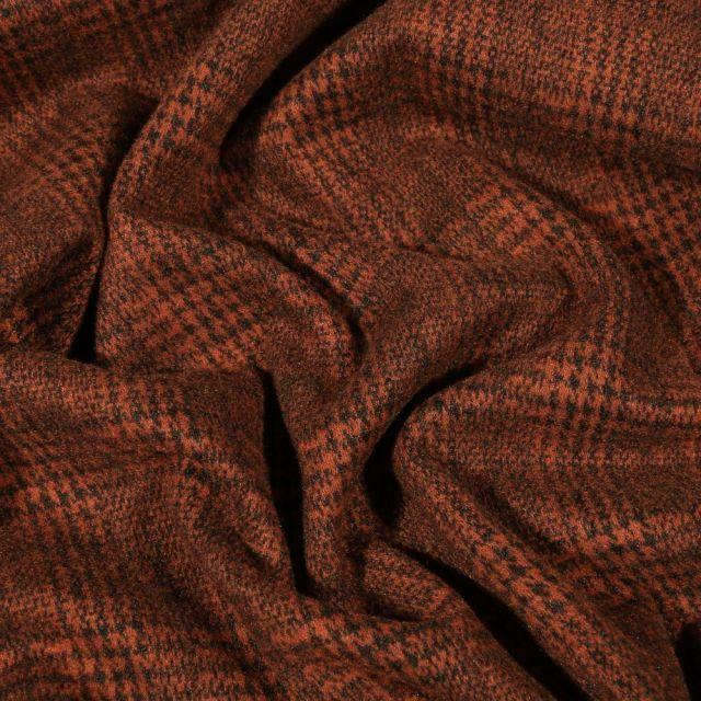 Tissu Jersey Milano toucher laine Prince de Galles sur fond Brique - Par 10 cm