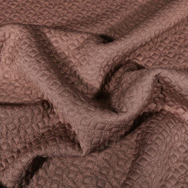 Tissu Jacquard Jersey Petits losanges sur fond Marron - Par 10 cm