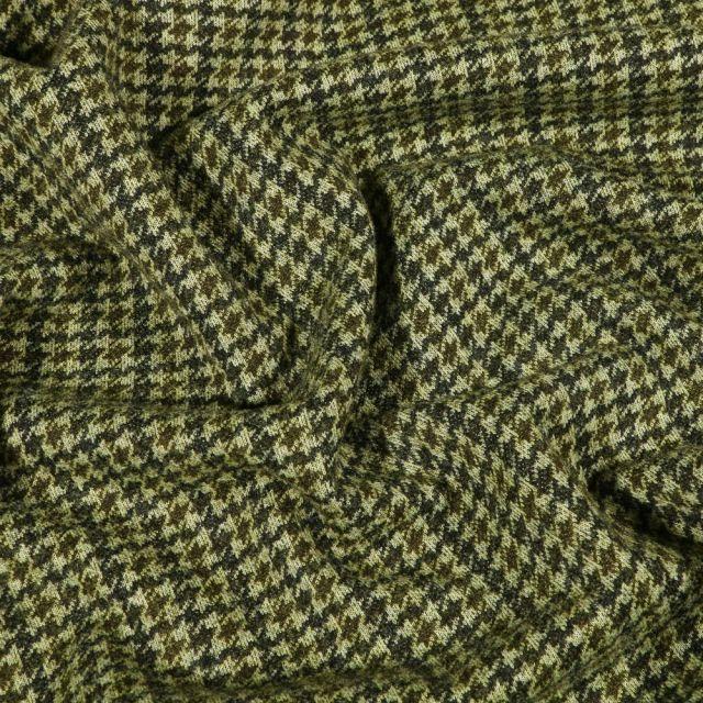 Tissu Maille toucher laine Pied de poule sur fond Vert - Par 10 cm