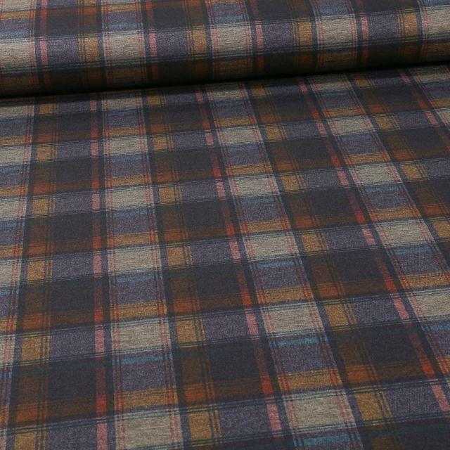 Tissu Jersey Milano Carreaux bleu et ocre sur fond Gris chiné - Par 10 cm