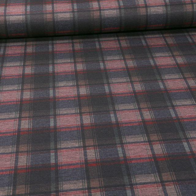 Tissu Jersey Milano Carreaux rouge et gris sur fond Gris chiné - Par 10 cm