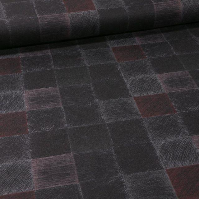 Tissu Jersey Milano Carreaux sur fond Bordeaux - Par 10 cm