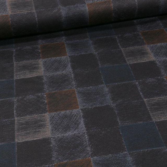 Tissu Jersey Milano Carreaux sur fond Ocre - Par 10 cm