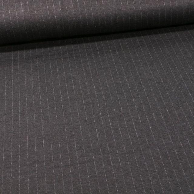 Tissu Jersey Milano rayures grises sur fond Gris anthracite - Par 10 cm