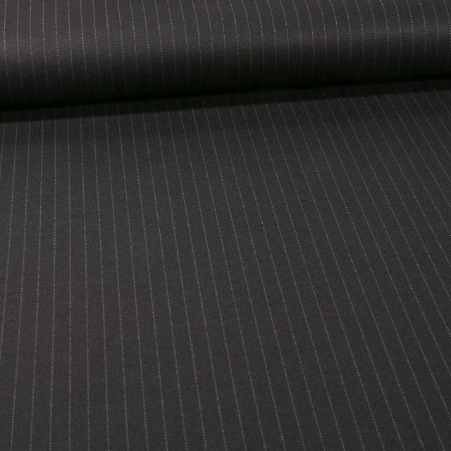 Tissu Jersey Milano rayures grises sur fond Noir - Par 10 cm