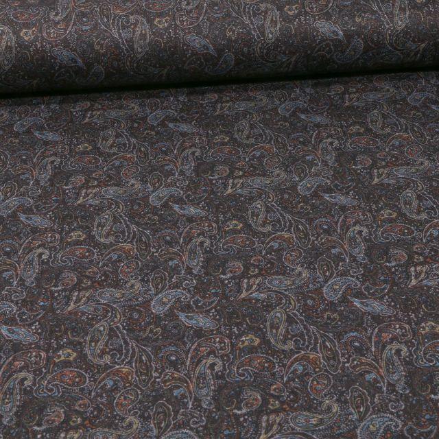Tissu Jersey Milano motifs cachemire sur fond Noir - Par 10 cm