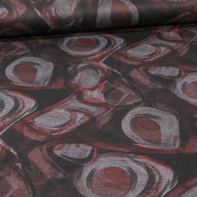 Tissu Jersey Milano Motifs abstraits bordeaux sur fond Gris - Par 10 cm