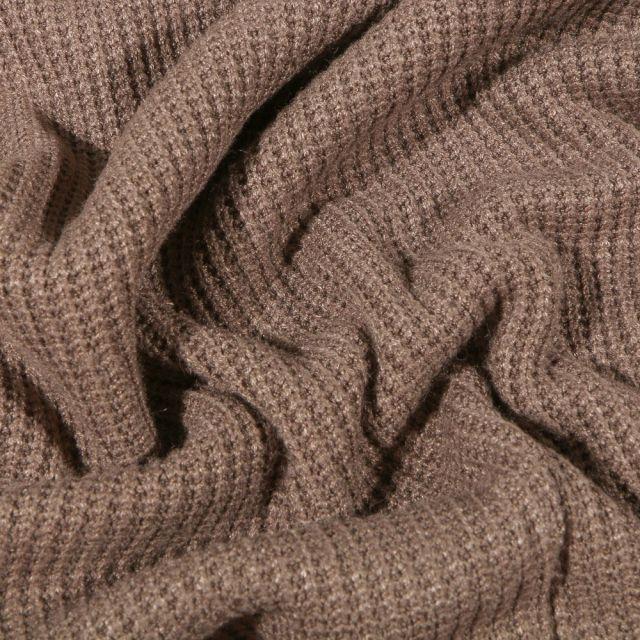 Tissu Maille tricot Viscose Taupe - Par 10 cm