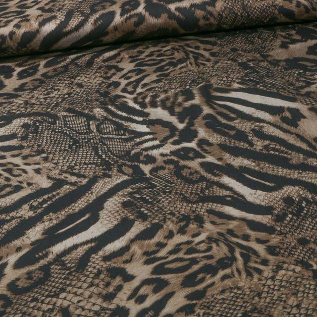 Tissu Tissu Coton Satiné extensible  reptile et félin sur fond Beige - Par 10 cm