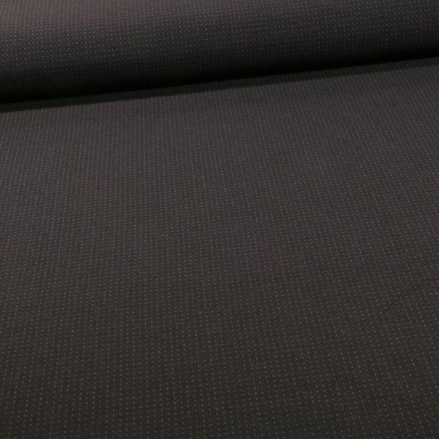 Tissu Bengaline Petits points taupe sur fond Noir - Par 10 cm