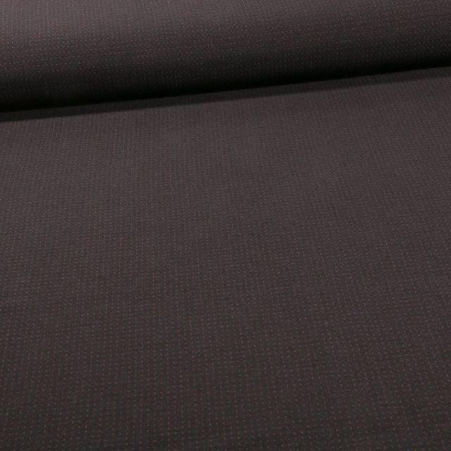 Tissu Bengaline Petits points brique sur fond Noir - Par 10 cm