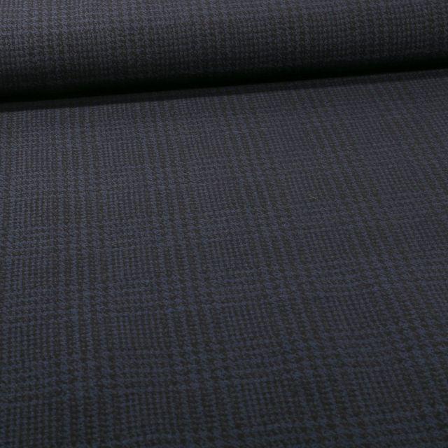 Tissu Bengaline Pied de poule sur fond Bleu marine - Par 10 cm