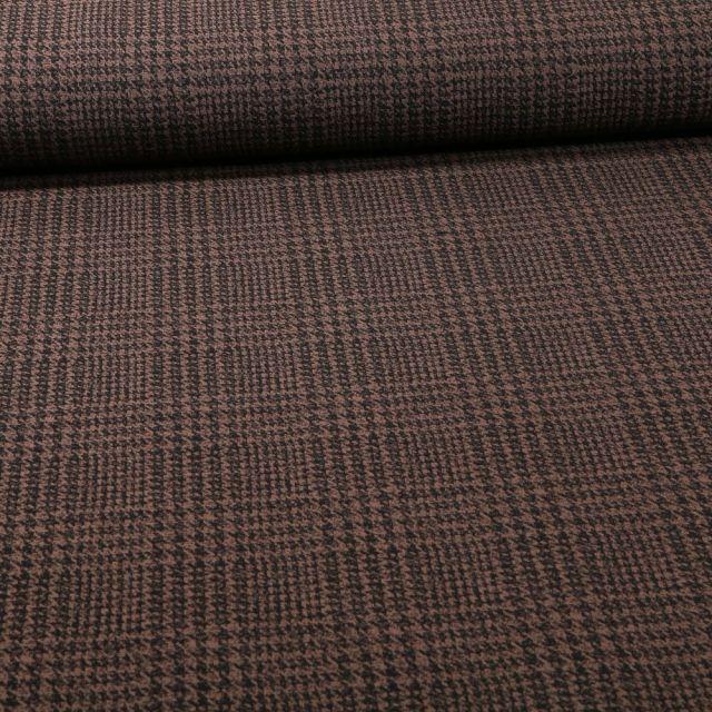 Tissu Bengaline Pied de poule sur fond Taupe - Par 10 cm