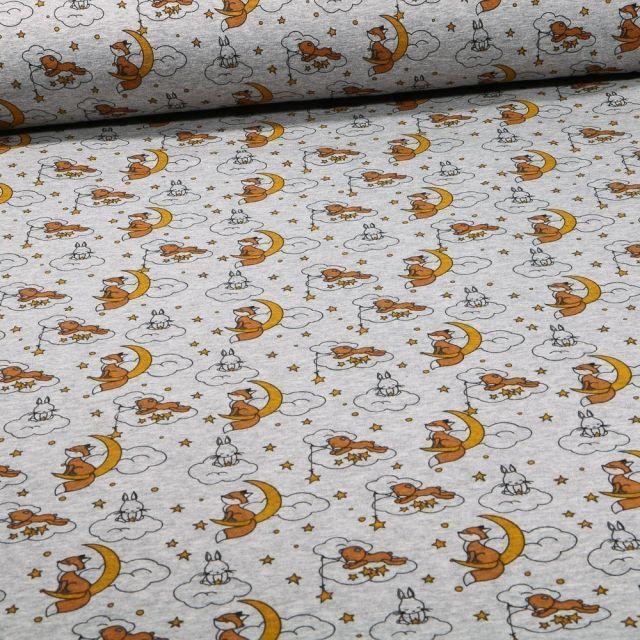 Tissu Sweat envers minky  Douce nuit sur fond Gris chiné - Par 10 cm
