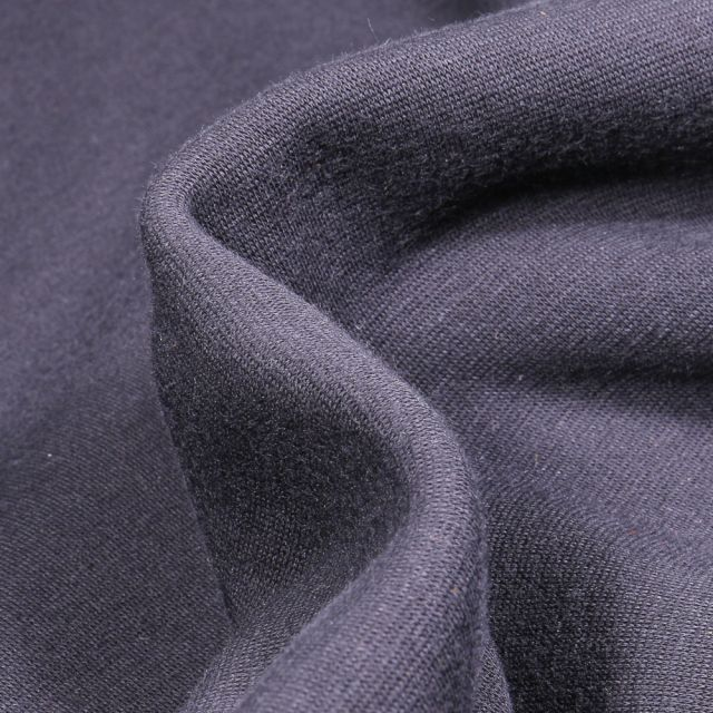 Tissu Sweat envers minky uni Bleu marine