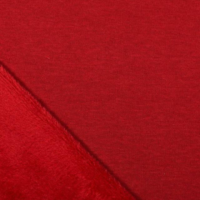 Tissu Sweat envers minky uni Bordeaux - Par 10 cm