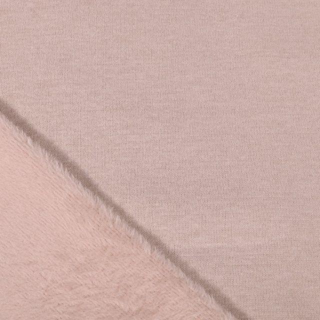 Tissu Sweat envers minky uni Beige - Par 10 cm
