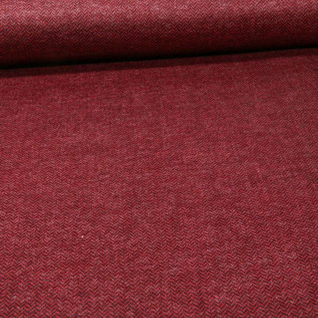 Tissu Jersey Milano toucher laine Chevrons sur fond Rouge foncé - Par 10 cm