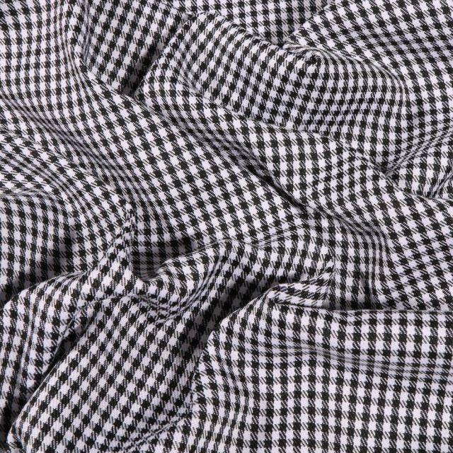 Tissu Tailleur  Mini carreaux sur fond Blanc - Par 10 cm