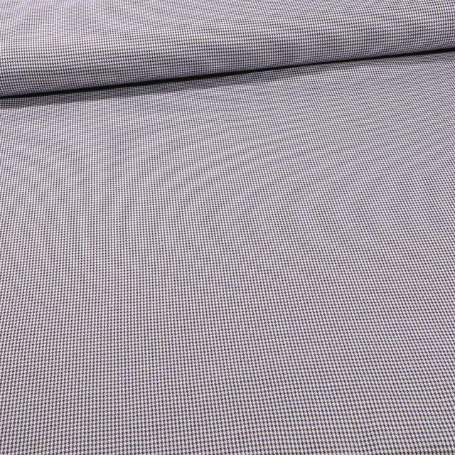 Tissu Tailleur Pied de poule sur fond Blanc - Par 10 cm