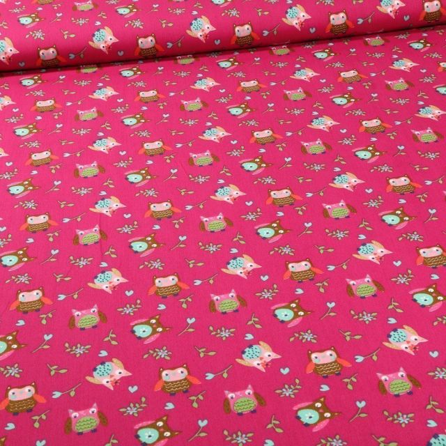 Tissu Coton imprimé LittleBird Chouette sur fond Rose fuchsia - Par 10 cm