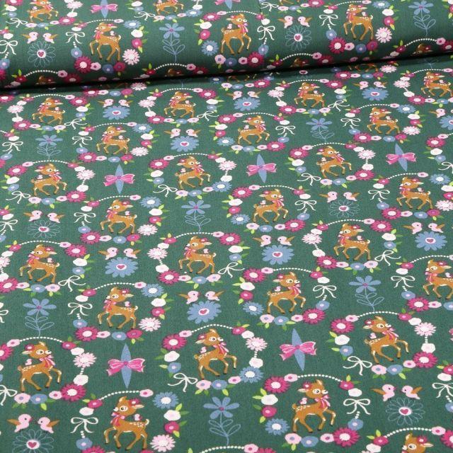 Tissu Coton imprimé Faons et couronnes de fleurs sur fond Vert - Par 10 cm
