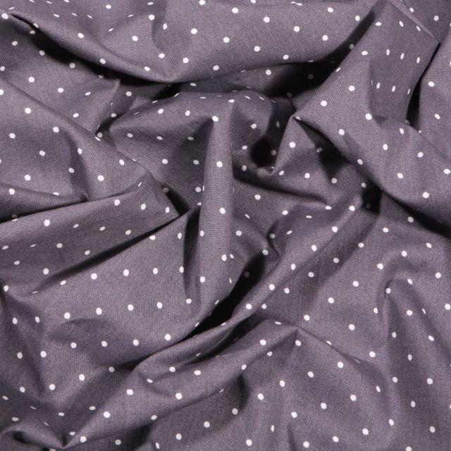 Tissu Coton imprimé Mini pois blanc 2 mm sur fond Gris foncé - Par 10 cm