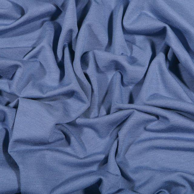 Tissu Jersey Bambou uni Bleu indigo - Par 10 cm