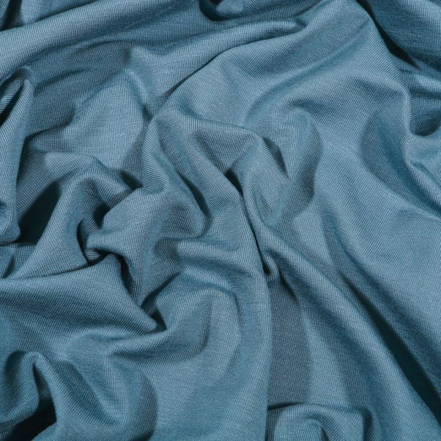 Tissu Jersey Bambou uni Bleu gris - Par 10 cm