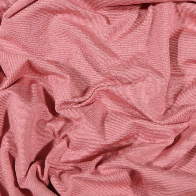 Tissu Jersey Bambou uni Vieux rose - Par 10 cm