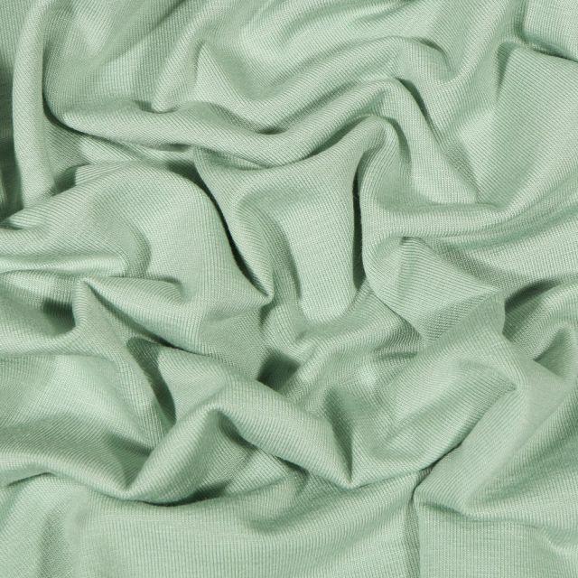 Tissu Jersey Bambou uni  Vert menthe clair - Par 10 cm