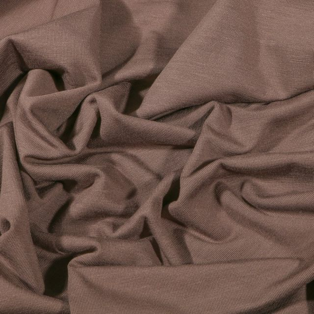 Tissu Jersey Bambou uni Taupe - Par 10 cm