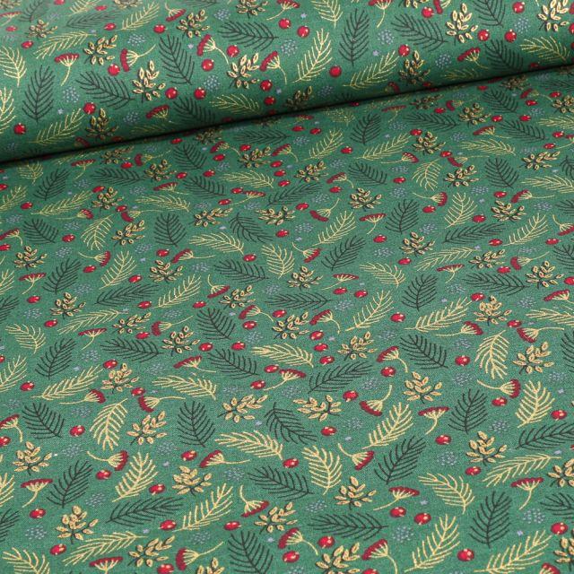 Tissu Coton imprimé Feuilles dorées de noël sur fond Vert