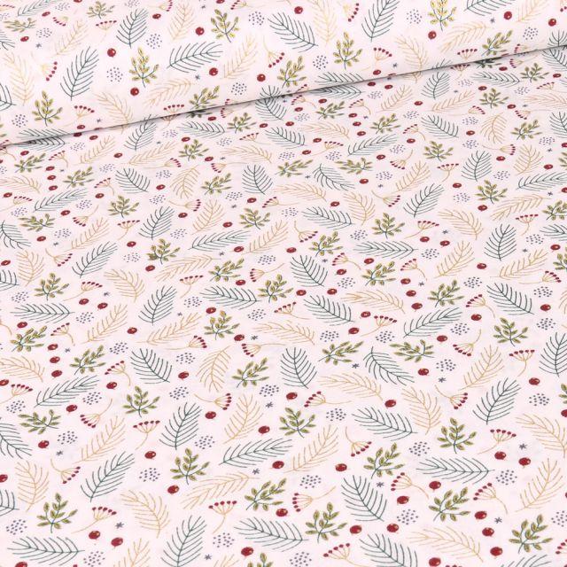 Tissu Coton imprimé Feuilles dorées de noël sur fond Blanc