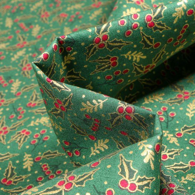 Tissu Coton imprimé Houx de noël sur fond Vert foncé