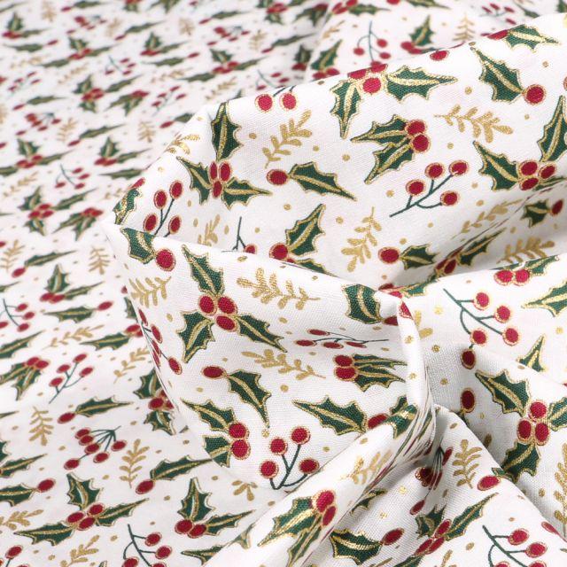 Tissu Coton imprimé Houx de noël sur fond Blanc