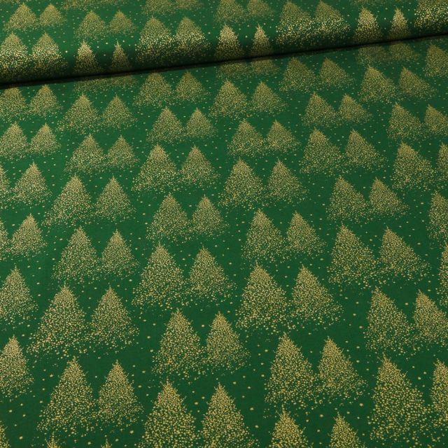 Tissu Coton imprimé Sapins dorés sur fond Vert foncé - Par 10 cm