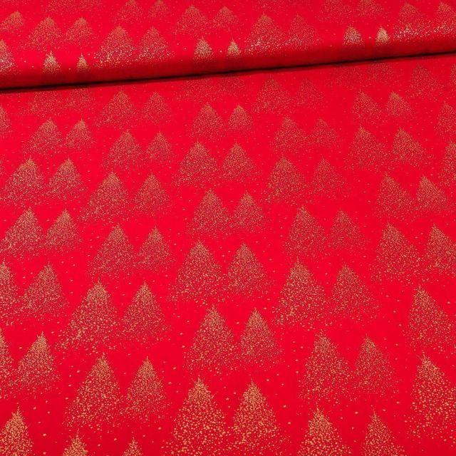 Tissu Coton imprimé Sapins dorés sur fond Rouge - Par 10 cm
