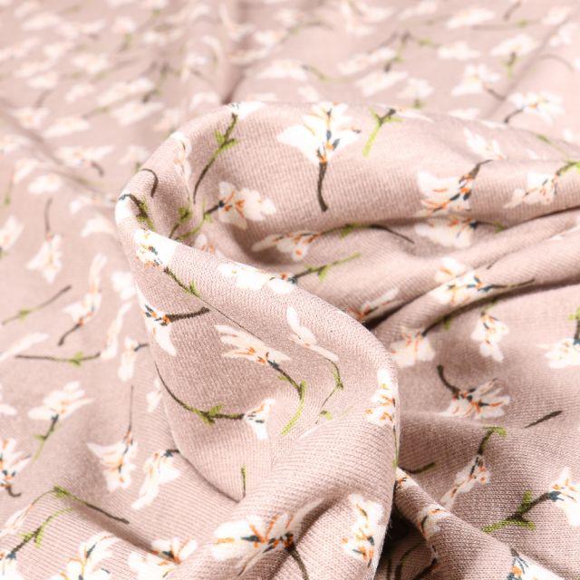 Tissu Jersey Viscose  Brindilles de fleurs sur fond Beige