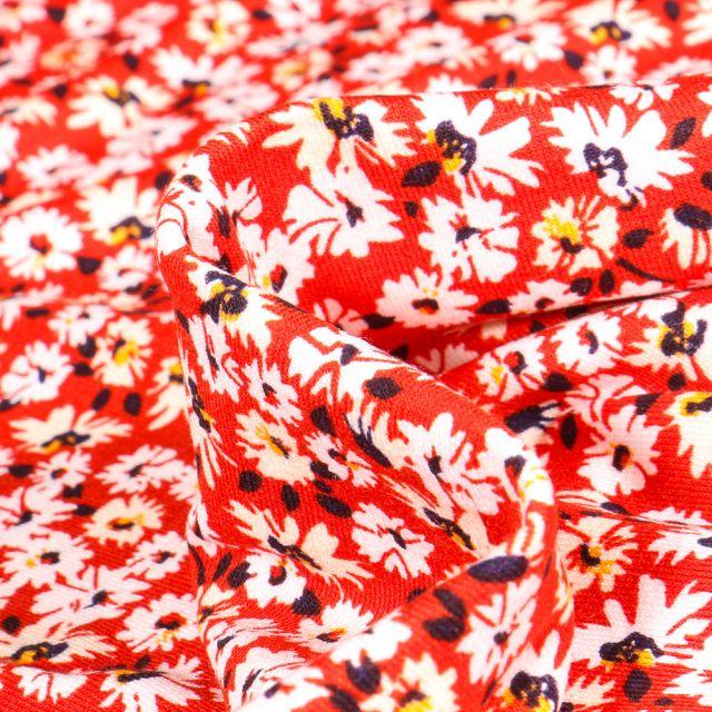 Tissu Jersey Viscose  Fleurs et pâquerettes sur fond Rouge