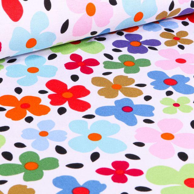 Tissu Jersey Viscose  Pensée colorée sur fond Blanc