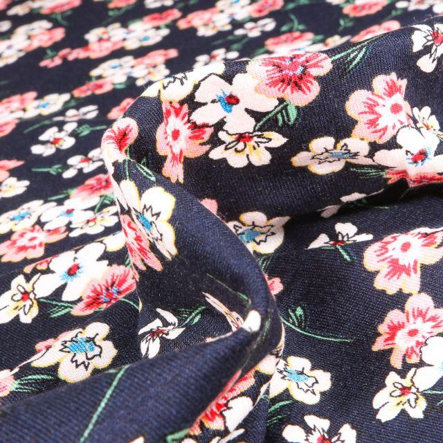 Tissu Jersey Viscose  Bouquets de fleurs colorés sur fond Bleu marine