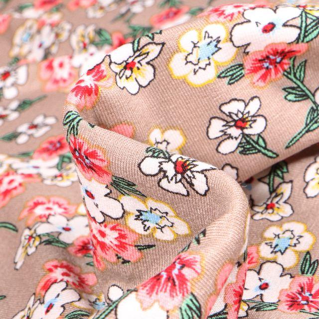 Tissu Jersey Viscose  Bouquets de fleurs colorés sur fond Beige